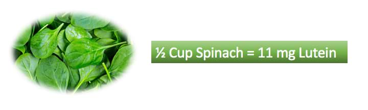 1 cup spinach 11mg lutein - Science Backed